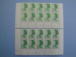 France  Yvert 2484 ** A VOIR Belle Nuance De Couleurs  2 Blocs De 10 - Coins Datés Liberté Delacroix  2.00 F Vert - Coins Datés