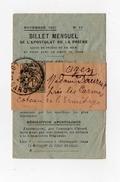 !!! BANDE DE JOURNAL 1C BLANC SUR BILLET MENSUEL DE L'APOSTOLAT ET DE LA PRIERE DE 1927