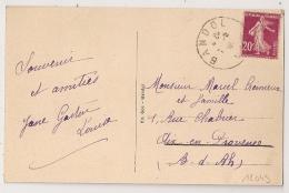 BANDOL Var Sur CP Au Type 20c SEMEUSE. - Postmark Collection (Covers)
