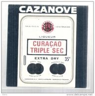 étiquette  - 1940/70 - CAZANOVE  Trple Sec Curaçao - - Otros