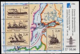 1986, Finnland,  998/01 Block 2, Int. Briefmarkenausstellung FINLANDIA '88, Helsinki (I): Postschiffe. MNH **