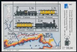 1987, Finnland,  998/01 Block 3, Int. Briefmarkenausstellung FINLANDIA '88, Helsinki (III): Eisenbahn. MNH **