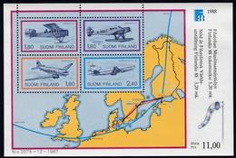 1988, Finnland,  1053/56 Block 4, Int. Briefmarkenausstellung FINLANDIA '88, Helsinki (III): Flugpost. MNH **