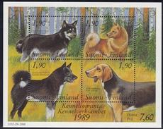 1989, Finnland,  1078/81 Block 5, 100 Jahre Bund Finnischer Hundezüchter.  MNH **