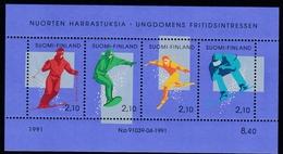 1991 Finnland,  1152/55 Block 8, Alpinskifahren MNH **