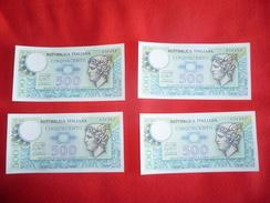 Lotto 4 Banconote Consecutive 500 Lire Mercurio Fior Di Stampa 1976 FDS - 500 Lire