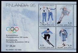 1994 Finnland, 1236/39 Block 11, Briefmarkenausstellung FINLANDIA '95, Helsinki; 100 J. IOC, Olympia-Sieger, MNH *