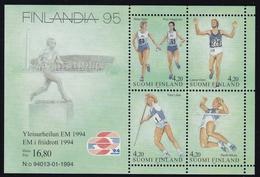 1994 Finnland, 1251/54 Block 12, Briefmarkenausstellung FINLANDIA '95, Helsinki; Leichtathletik-EM, MNH *