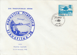 TRANSPORTS, HELICOPTERS, PLANE, TRAIN, TRUCK, SHIP, SPECIAL COVER, 1978, ROMANIA