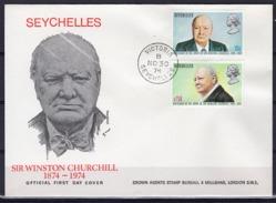 Seychelles 1974, Churchill, 2val In FDC