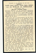 DOODSPRENTJE :: ADEL NOBLESSE =     CAMILLE VAN DE WALLE DE GHELCKE = BRUGGE 1880 - ASSEBROEK 1962 - Décès