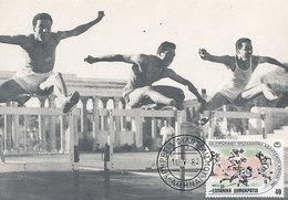 D29051 CARTE MAXIMUM CARD 1982 GREECE - ATHLETICS HURDLES CP ORIGINAL - Athletics