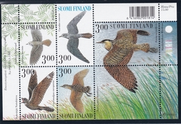 1999 Finnland, 1478/82 Block 22,  Nachtaktive Vögel. MNH **