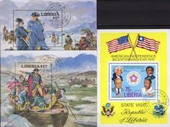 Unabhängigkeit USA 1976 Liberia Bl.83,97+99 O 12€ Präsident Washington Hb Ss Military Blocs History Sheet Bf Africa - George Washington