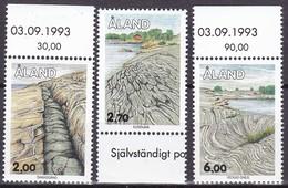 1993 Aland, 75/77, Gesteinsformationen. MNH **