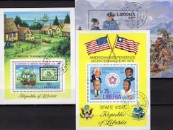 Unabhängigkeit USA 1976 Liberia Bl.76,83+97 O 10€ Präsident Washington Ms Military Bloc Ss History Sheets Bf Africa - George Washington