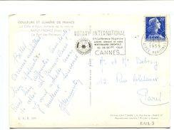 20fr Muller Sur Cp Obl. Méca. Cannes ROTARY INTERNATIONAL 6e Conférence Régionale 25 28 Sept 1959