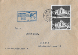 1.SCHW.HELICOPTER-POST → Brief Zürich-Bern 23.Sept.1948   ►SBK-282 Im Doppel◄