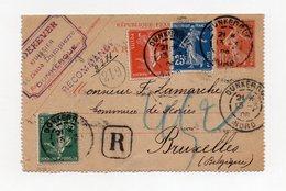 !!! ENTIER POSTAL 10C SEMEUSE RECOMMANDE POUR BRUXELLES DE 1908
