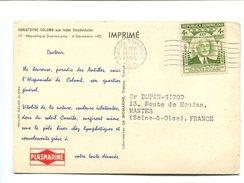 République Dominicaine 4c Vert Sur Carte Publicitaire PLASMARINE - 1955 - Dominicaine (République)