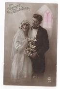 NOCES - CP COLORISEE COUPLE DE JEUNES MARIES - SINCERES FELICITATIONS - PC PARIS N° 514 - Noces