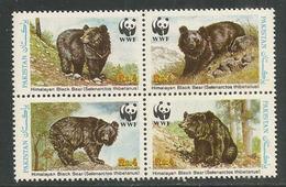 L'Ours Noir De L'Himalaya  WWF, Bloc De 4 Timbres Neufs ** Du Pakistan