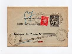 !!! ENTIER PNEUMATIQUE CAISSE D'EPARGNE 2F CHAPLAIN UTILISE LE 16 ET 17 JUILLET 1943
