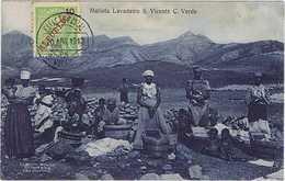 Cabo Verde São Vicente Matiota Lavadeiro 1912. Matiota Blanchisseur. Lavandière, Blanchisseuse. Noir Et Blanc. - Cap Vert
