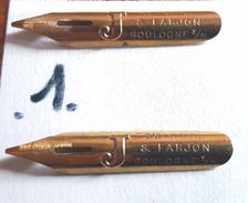 """2 Plumes BAIGNOL & FARJON - Boulogne Sur Mer - Dorée Avec Un Grand """" J """" En Relief -  Vintage Pens Nibs - Plumes"""
