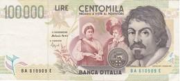 BILLETE DE ITALIA DE 100000 LIRAS DEL AÑO 1994 SERIE BA DE CARAVAGGIO (BANKNOTE-BANK NOTE) - [ 2] 1946-… : República