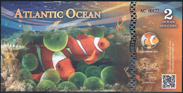 ATLANTIC OCEAN  3 Océan Dollars 2016 Poissons Poisson ANEMONEFISH UNC - Specimen