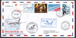 FRANCE 2007 - Pli Spécial FRANCE - SINGAPOUR Vol De Livraison A380 SIA (9V-SKA) Toulouse - Singapore - FDC