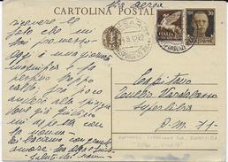 STORIA POSTALE REGNO - INTERO SPEDITO VIA AEREA  04.09.1942 DA PESARO A MILITARE P.M. 11 - Storia Postale (Posta Aerea)