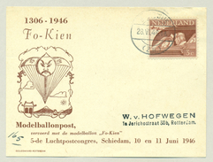 """Nederland - 1946 - 3 Cent Bevrijdingszegel Op Post Van Het 5e Luchtpostcongres - Vervoerd Met Modelballon """"Fo-Kien"""""""
