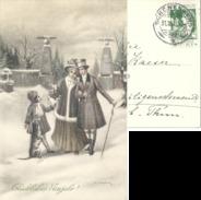 """AK  """"Glückliches Neujahr !""""  (Pro Juventute Frankatur)            1913 - Suisse"""