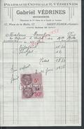 FACTURE DE 1958 E. VÉDRINES X GABRIEL VÉDRINES PHARMACIE CENTRALE À SAINT FLOUR ( CANTAL ) : - Petits Métiers