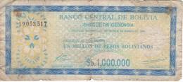 BILLETE DE BOLIVIA DE 1000000 PESOS BOLIVIANOS  DEL AÑO 1985 - Bolivia