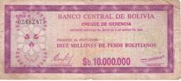 BILLETE DE BOLIVIA DE 10000000 PESOS BOLIVIANOS  DEL AÑO 1985 - Bolivia