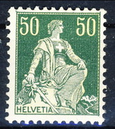 Svizzera 1908 N. 124A C. 50 Verde E Verde Chiaro, Carta Goffrata MLH Cat. € 45 - Nuovi