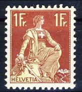 Svizzera 1908 N. 126A F. 1 Carminio E Oliva Chiaro, Carta Goffrata MVLH Cat. € 63 - Nuovi