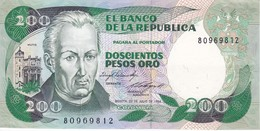 BILLETE DE COLOMBIA DE 200 PESOS DE ORO DEL AÑO 1984 CALIDAD EBC (XF)  (BANK NOTE) - Colombia