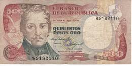 BILLETE DE COLOMBIA DE 500 PESOS DE ORO DEL AÑO 1984  (BANK NOTE) - Colombia