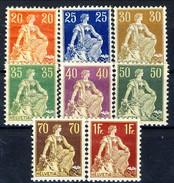 Svizzera 1908 Serie N. 119-126 Carta Ordinaria MVLH Cat. € 427 - Svizzera