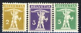 Svizzera 1909 Serie N. 128-130 (anello Sottile, Corda Della Balestra Davanti Al Fusto) MLH Cat. € 15 - Svizzera