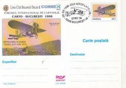 55839- BRASOV 1910 AIR SHOW, PLANE, LIONS CLUB, POSTCARD STATIONERY, 1998, ROMANIA
