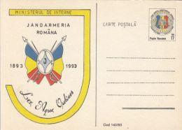 55840- ROMANIAN POLICE FORCES ANNIVERSARY, GENDARMERIE, POSTCARD STATIONERY, 1993, ROMANIA