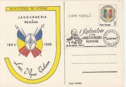 55841- ROMANIAN POLICE FORCES ANNIVERSARY, GENDARMERIE, POSTCARD STATIONERY, 1993, ROMANIA