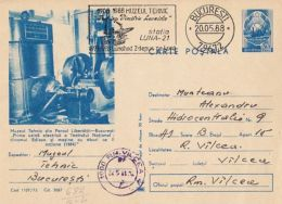 55843- LUNA-21 MOON PROBE, SPACE, COSMOS, SPECIAL POSTMARK ON ENGINE POSTCARD STATIONERY, 1988, ROMANIA
