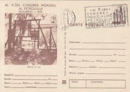 55849- WORLD OIL CONGRESS, WELL, ENERGY, POSTCARD STATIONERY, 1979, ROMANIA