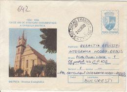 55875- BISTRITA EVANGELICAL CHURCH, ARCHITECTURE, COVER STATIONERY, 1995, ROMANIA